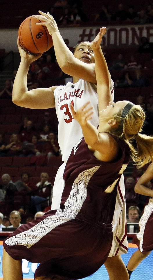 OU's Portia Durrett (31) shoots over Makenzie Brown (31) during a women's' college basketball exhibition game between the University of Oklahoma and Oklahoma Christian University at the Lloyd Noble Center in Norman, Okla., Thursday, Nov. 1, 2012. Photo by Nate Billings, The Oklahoman