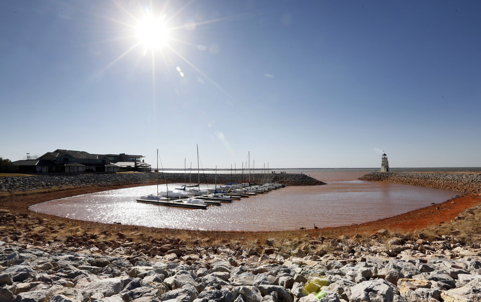 A view of the water lever at a harbor on the east side of Lake Hefner in Oklahoma City, Monday, Feb. 18, 2013. Photo by Nate Billings, The Oklahoman
