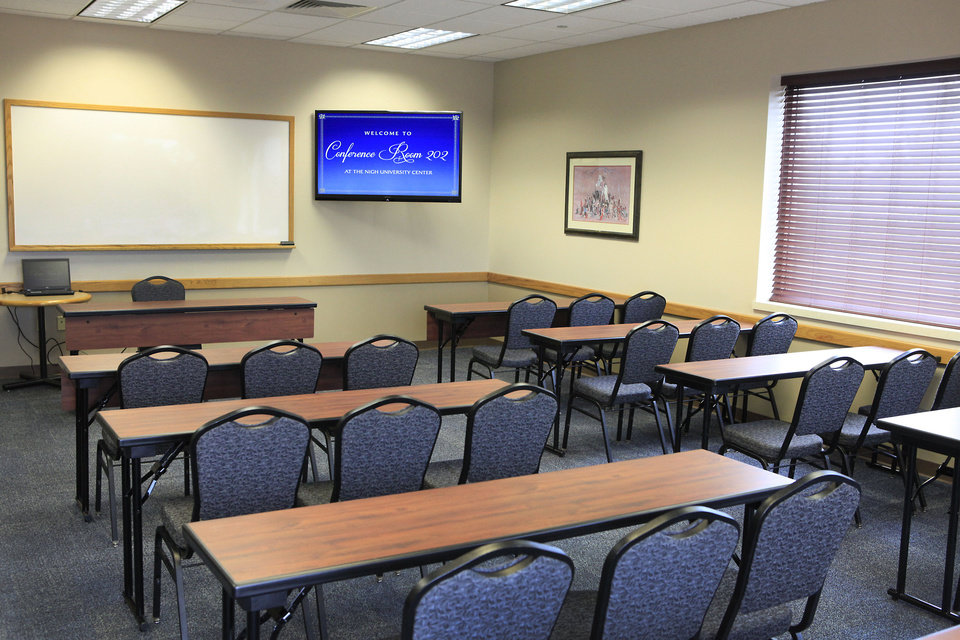 Newly renovated Conference Room 202 at the Nigh University Center at  the University of Central Oklahoma in Edmond is shown. PHOTO BY DAVID MCDANIEL, THE OKLAHOMAN. <strong>David McDaniel - THE OKLAHOMAN</strong>