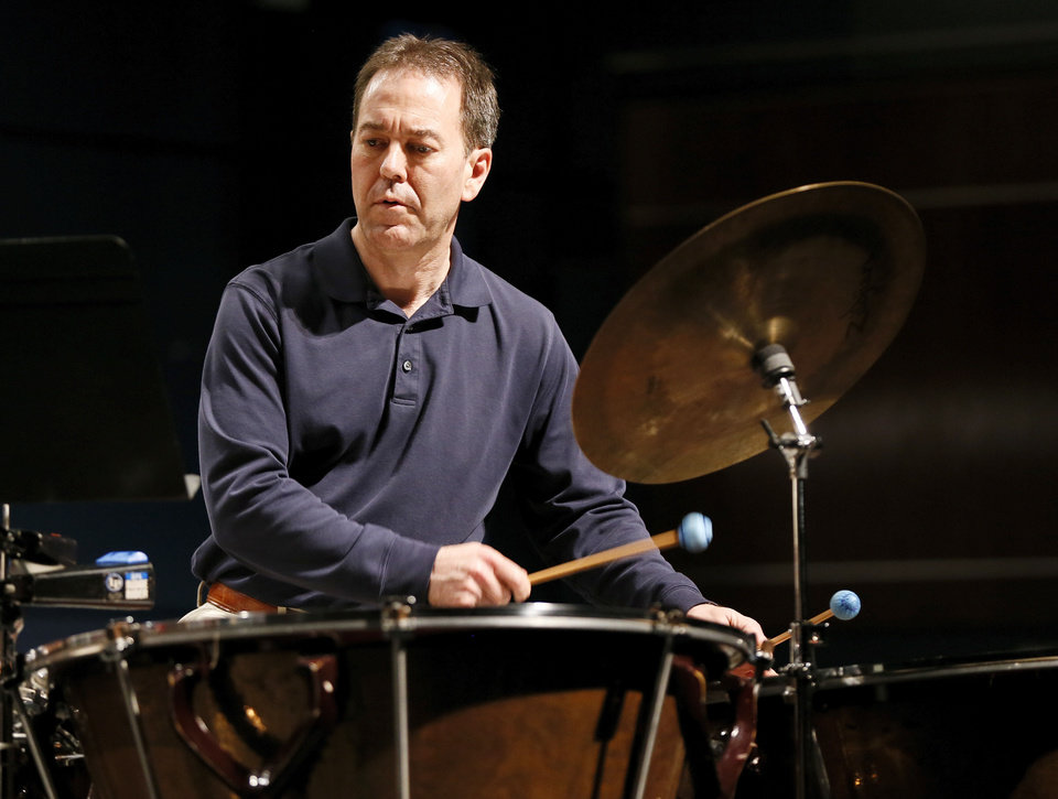 Timpanist Lance Drege in rehearsal with the Oklahoma City Philharmonic's percussion section.   Photo by Nate Billings, The Oklahoman <strong>NATE BILLINGS - NATE BILLINGS</strong>