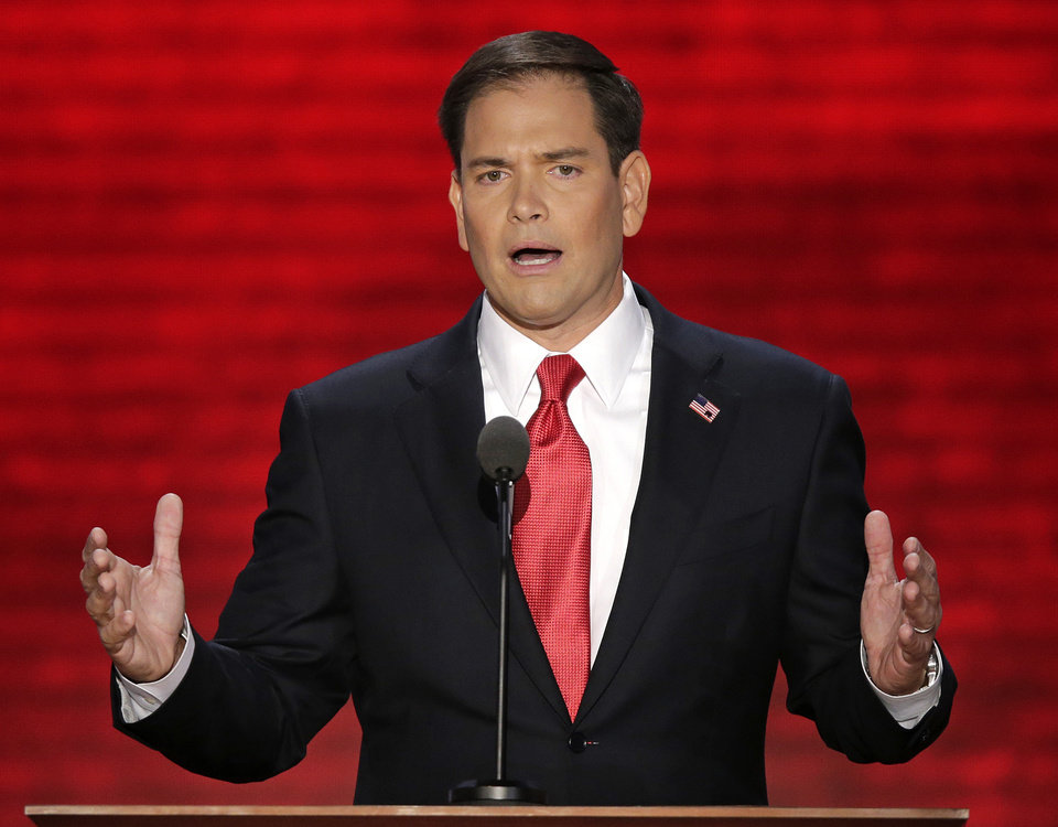 FILE - In this Aug. 30, 2012, file photo, Florida Sen. Marco Rubio addresses the Republican National Convention in Tampa, Fla. Relieved to see the long, costly 2012 presidential race end? The 2016 campaign is closer than you think. In some subtle ways, the jockeying to succeed Barack Obama or Mitt Romney already has begun. Republicans hope Romney will be crowned the new GOP chief _ but a crop of would-be candidates are at the ready in case he loses Tuesday, among them: Florida Sen. Marco Rubio and Wisconsin Rep. Paul Ryan. (AP Photo/J. Scott Applewhite, File)