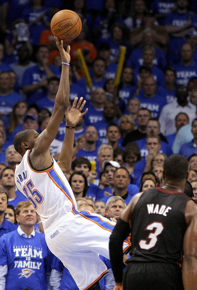 Oklahoma City's Kevin Durant (35) takes the shot under the final minute of Game 2 of the NBA Finals between the Oklahoma City Thunder and the Miami Heat at Chesapeake Energy Arena in Oklahoma City, Thursday, June 14, 2012. Photo by Sarah Phipps, The Oklahoman