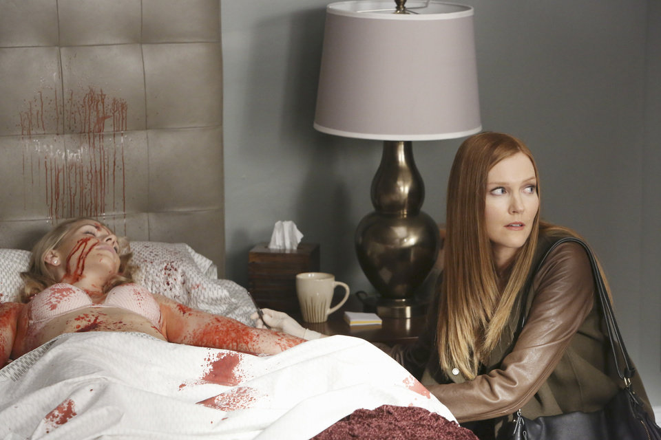 "This TV publicity image released by ABC shows Darby Stanchfield, right, in a sscene from the series ""Scandal.""  A study of 392 prime-time scripted programs on broadcast networks shown in the month following Vice President Joe Biden's January meeting with entertainment industry executives revealed that 193 had some incident of violence, according to the Parents Television Council. (AP Photo/ABC, Danny Feld)"