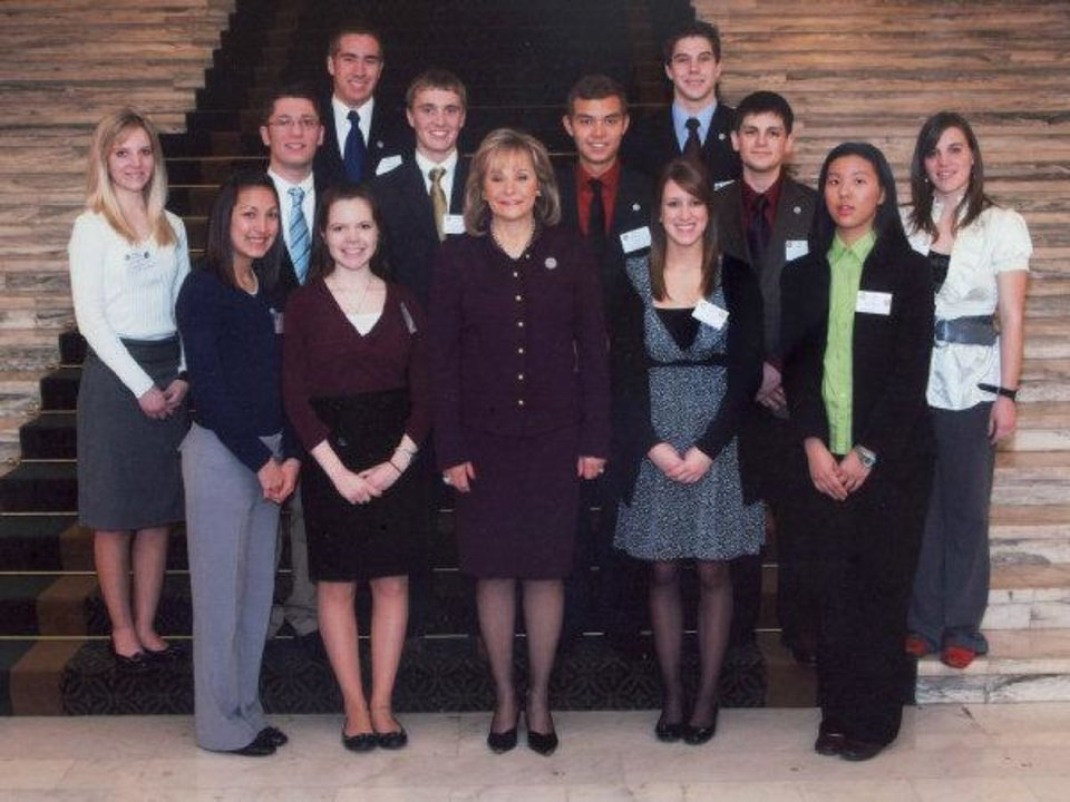 Photo - Hot Ink Columnist Lillie Roney, second from left, participated in the Oklahoma State Senate page program. Photographed in center is Gov. Mary Fallin.   - PHOTO PROVIDED BY THE OKLAHOMA S