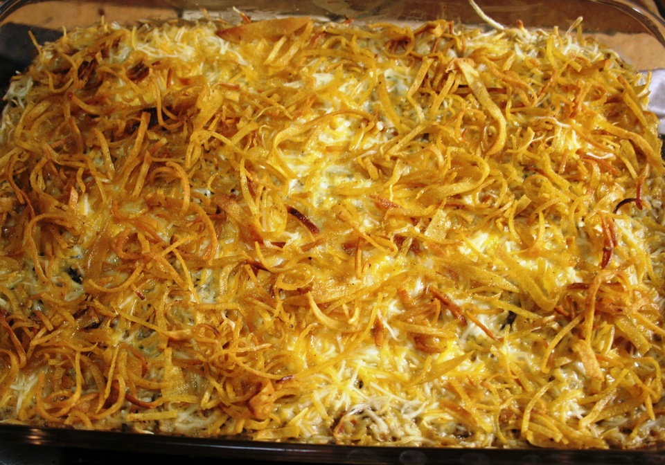 Photo -  Green chile rice and mushroom casserole.