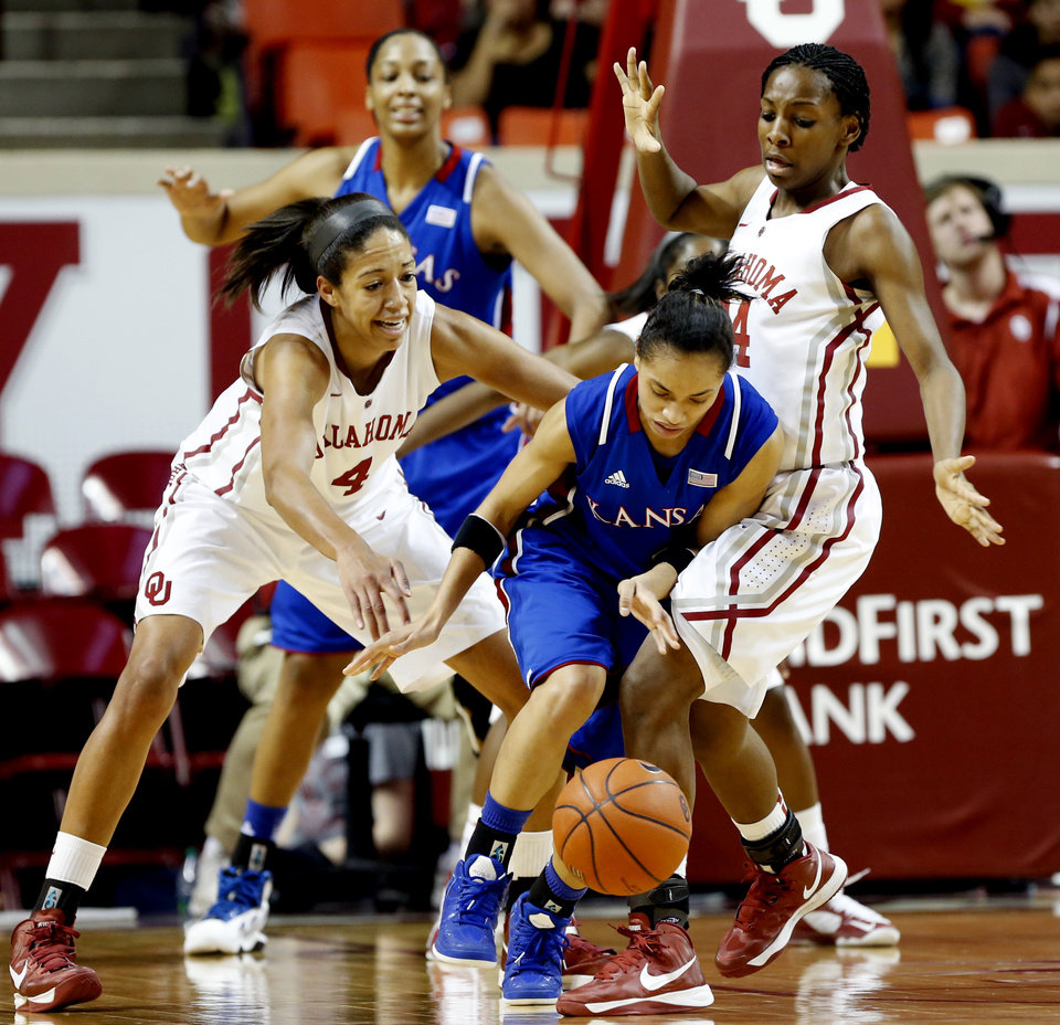 Photo - Oklahoma Sooner's Nicole Griffin (4) and Sharane Campbell (24) force a turnover by Kansas Jayhawks' CeCe Harper (24) in the second half as the University of Oklahoma Sooners (OU) defeat the Kansas Jayhawks 85-77 in NCAA, women's college basketball at The Lloyd Noble Center on Saturday, March 2, 2013  in Norman, Okla. Photo by Steve Sisney, The Oklahoman