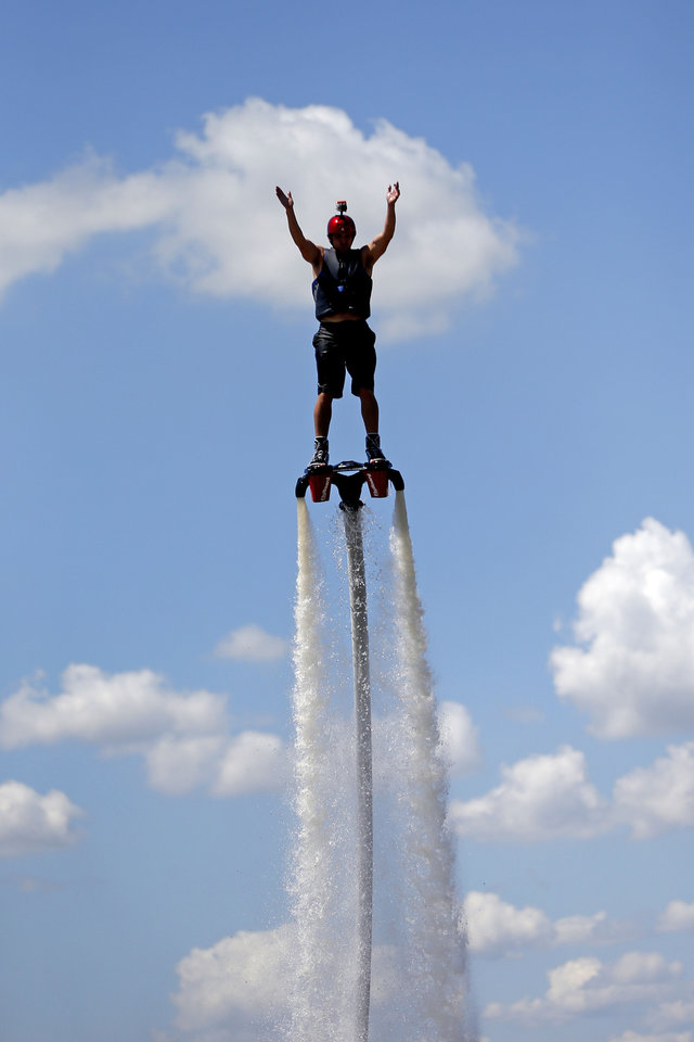 Jeff Luft, with Gulf State Flyboard,rides a Zapata Flyboard on Lake Overholser, Tuesday, June 18, 2013. Photo by Bryan Terry, The Oklahoman