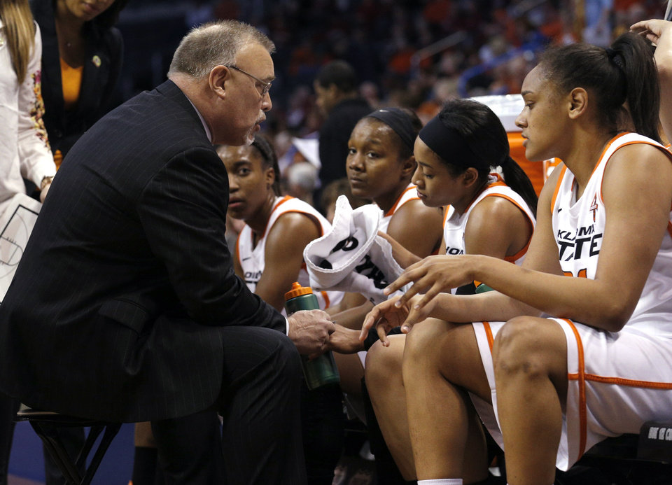 Coach Jim Littell talks to the team during a timeout at the Women's Big 12 basketball tournament at  Chesapeake Energy Arena  in Oklahoma City, Okla., Saturday, March 8, 2014. Photo by Sarah Phipps, The Oklahoman