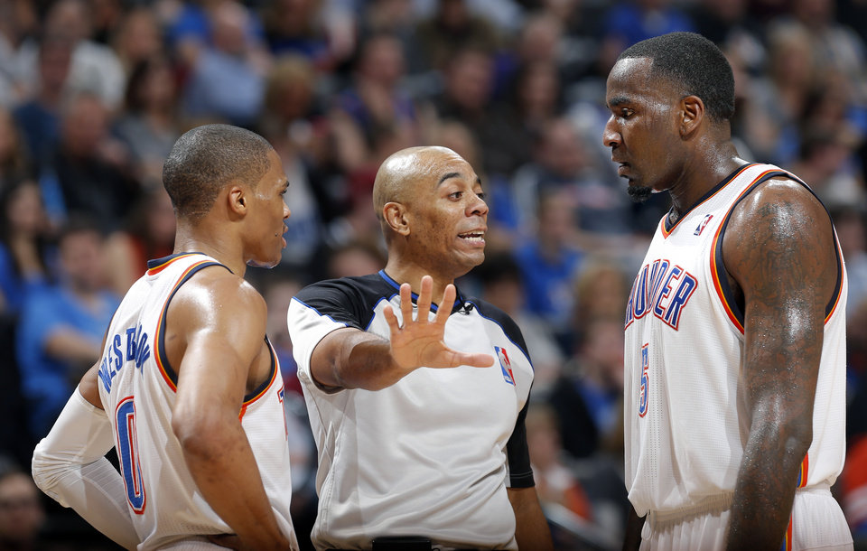 Oklahoma City's Russell Westbrook (0) and Kendrick Perkins (5) argue a call during the NBA game between the Oklahoma City Thunder and the Chicago Bulls at Chesapeake Energy Arena in Oklahoma City, Sunday, Feb. 24, 2013. Photo by Sarah Phipps, The Oklahoman