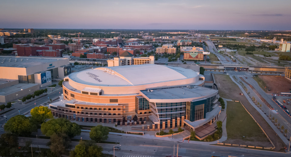 Photo - Drone image of Chesapeake Energy Arena. Image by Dave Morris.