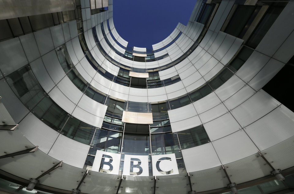 Photo -   A general view of the BBC headquarters in London, Sunday, Nov, 11, 2012. The head of the BBC's governing body said Sunday the broadcaster needs a radical overhaul following the resignation of its chief executive in wake of a scandal over a botched report on child sex-abuse allegations. Chris Patten vowed to restore confidence and trust in the BBC, which is reeling from the resignation of George Entwistle and the scandals prompting his ouster. Entwistle resigned Saturday night amid a storm of controversy after a news program wrongly implicated a British politician in a child sex-abuse scandal, deepening a crisis sparked by revelations it decided not to air similar allegations against one of its own stars.(AP Photo/Alastair Grant)