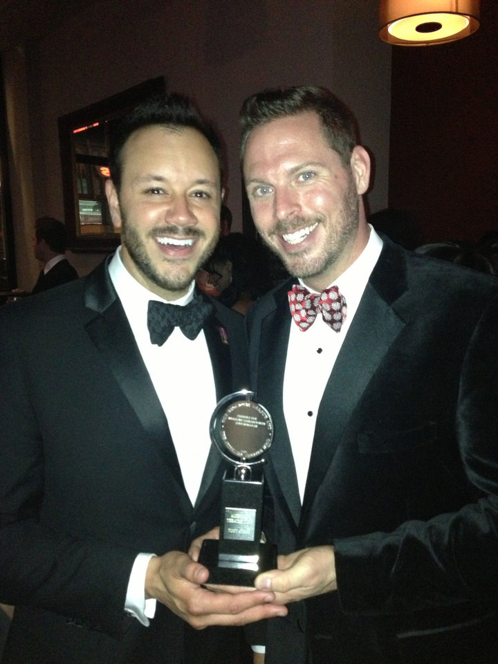 Photo - Ryan Tanner and Jay Krottinger pose with the Tony Award they won as co-producers of the Broadway revival of