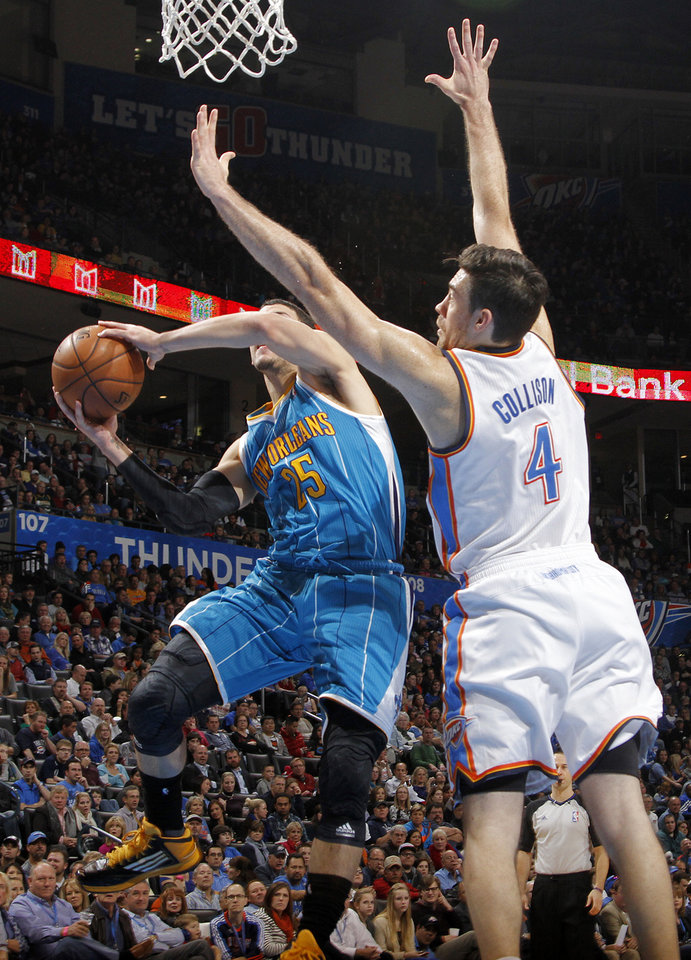 Oklahoma City Thunder's Nick Collison (4) defends on New Orleans Hornets' Austin Rivers (25) during the NBA basketball game between the Oklahoma CIty Thunder and the New Orleans Hornets at the Chesapeake Energy Arena on Wednesday, Dec. 12, 2012, in Oklahoma City, Okla.   Photo by Chris Landsberger, The Oklahoman