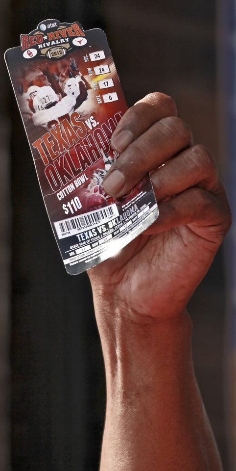 UNIVERSITY OF OKLAHOMA / COLLEGE FOOTBALL: Oklahoma Heisman Trophy winner Billy Sims holds up an OU vs Texas game ticket that was being given away during the Bevo Bash on Friday, Oct. 12, 2012, in Marietta, Okla. Photo by Chris Landsberger, The Oklahoman
