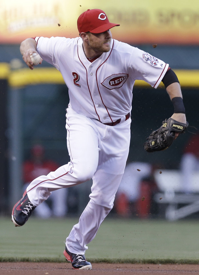 Photo - Cincinnati Reds shortstop Zack Cozart throws to first after fielding an infield hit by St. Louis Cardinals' Kolten Wong in the first inning of a baseball game, Sunday, May 25, 2014, in Cincinnati. (AP Photo/Al Behrman)