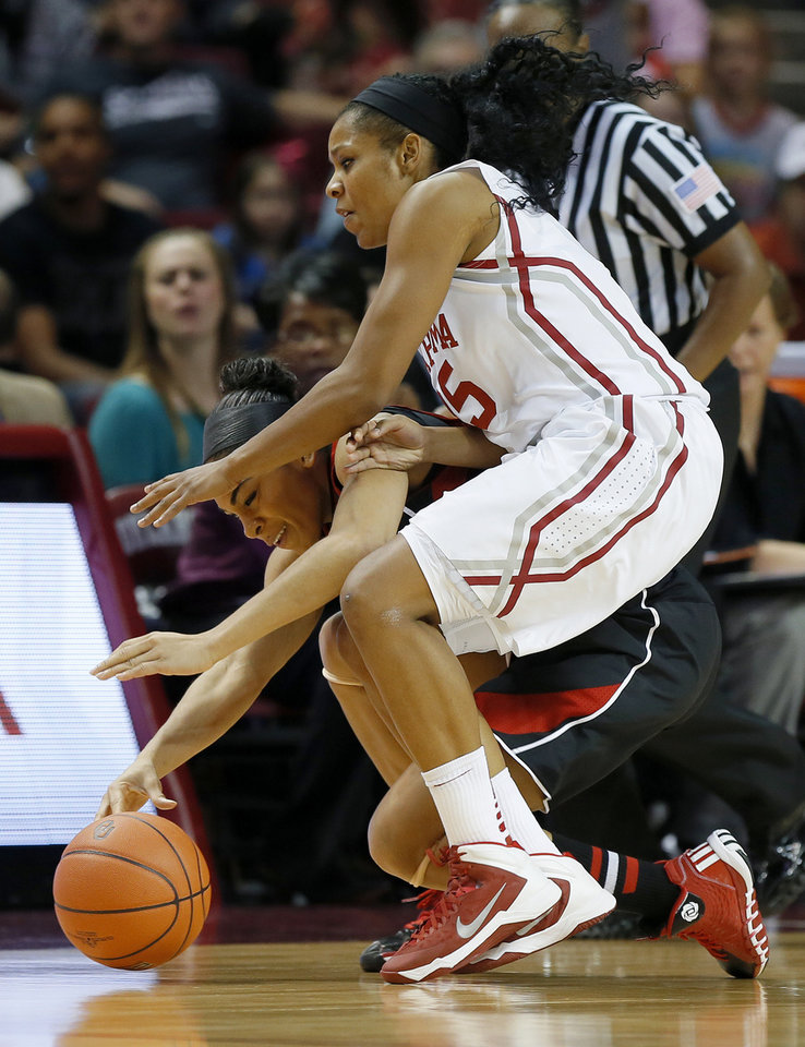 Photo - Louisville's Bria Smith, left, and Oklahoma's Gioya Carter go for the ball during the first half of an NCAA college basketball game in Norman, Okla., Sunday, Nov. 17, 2013. (AP Photo/Bryan Terry)