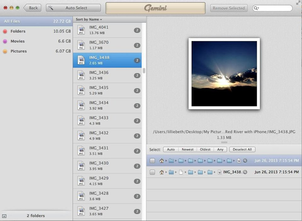 Photo - Gemini, by MacPaw, finds duplicate files on your computer and lets you select them for deletion, as seen in this screen shot.