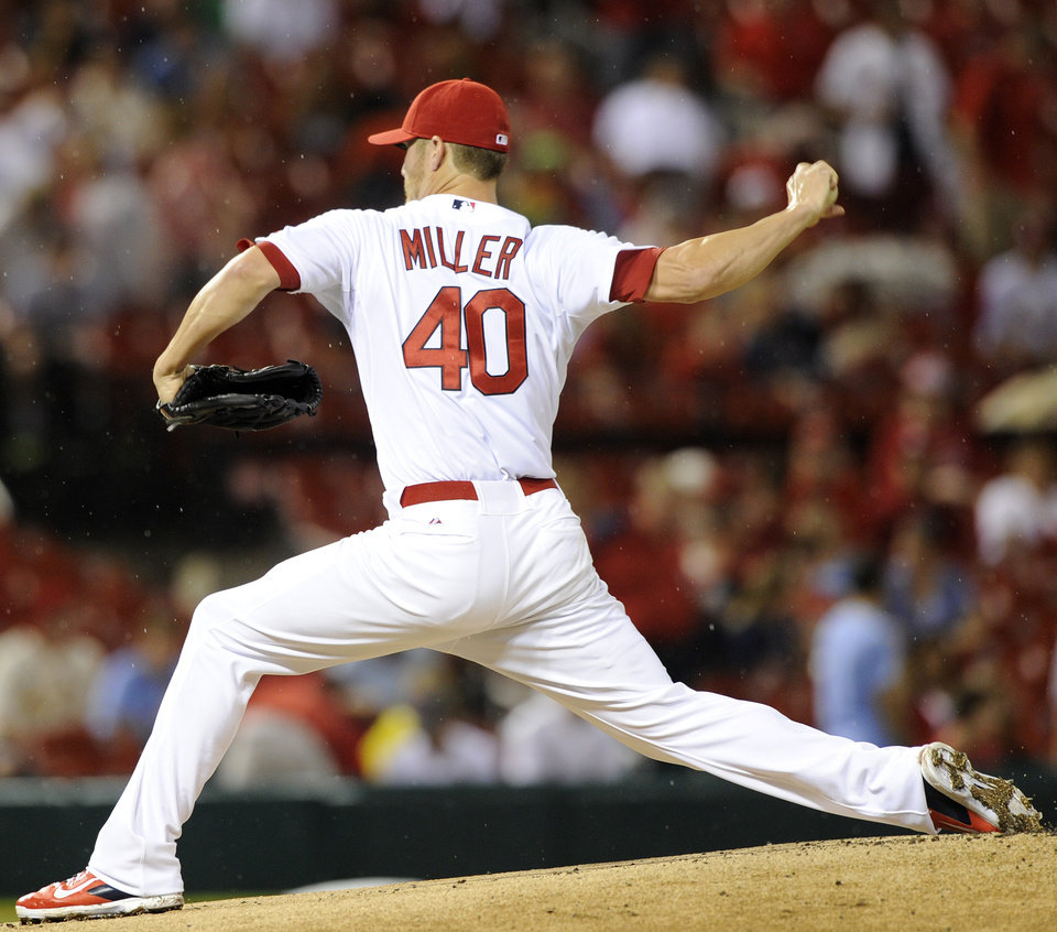 Photo - St. Louis Cardinals' starting pitcher Shelby Miller (40) throws against the Boston Red Sox in the first inning in a baseball game, Wednesday, August 6, 2014, at Busch Stadium in St. Louis. (AP Photo/Bill Boyce)