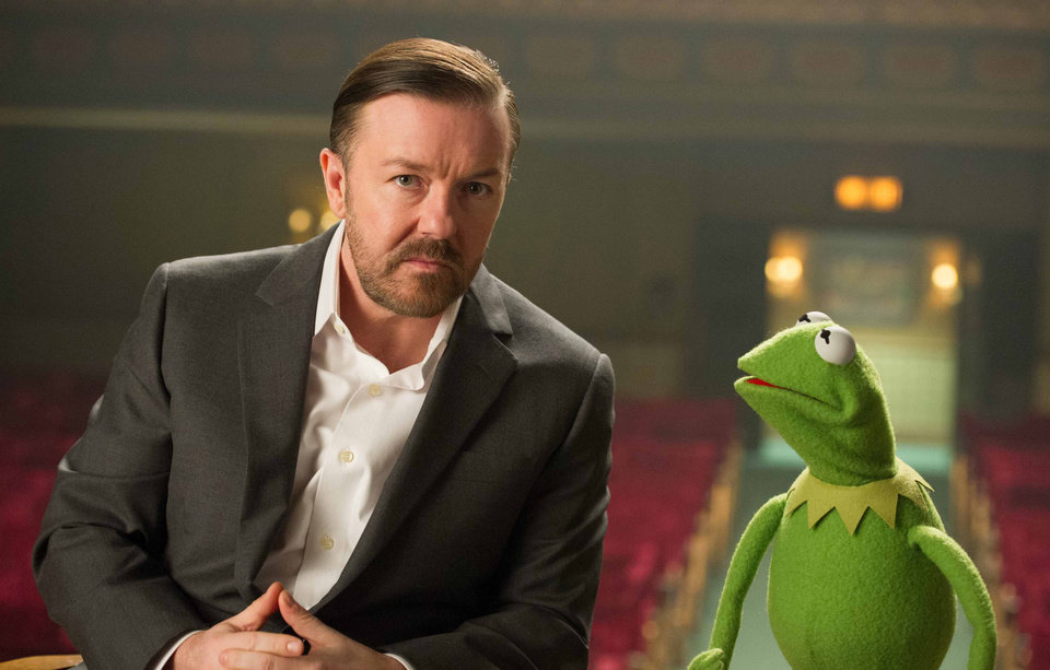 Photo - ADDS REFERENCE TO KERMIT THE FROG AS CONSTANTINE - This undated publicity photo released by Disney shows Ricky Gervais, left, as Dominic and Kermit the Frog as Constantine, right, from Disney's