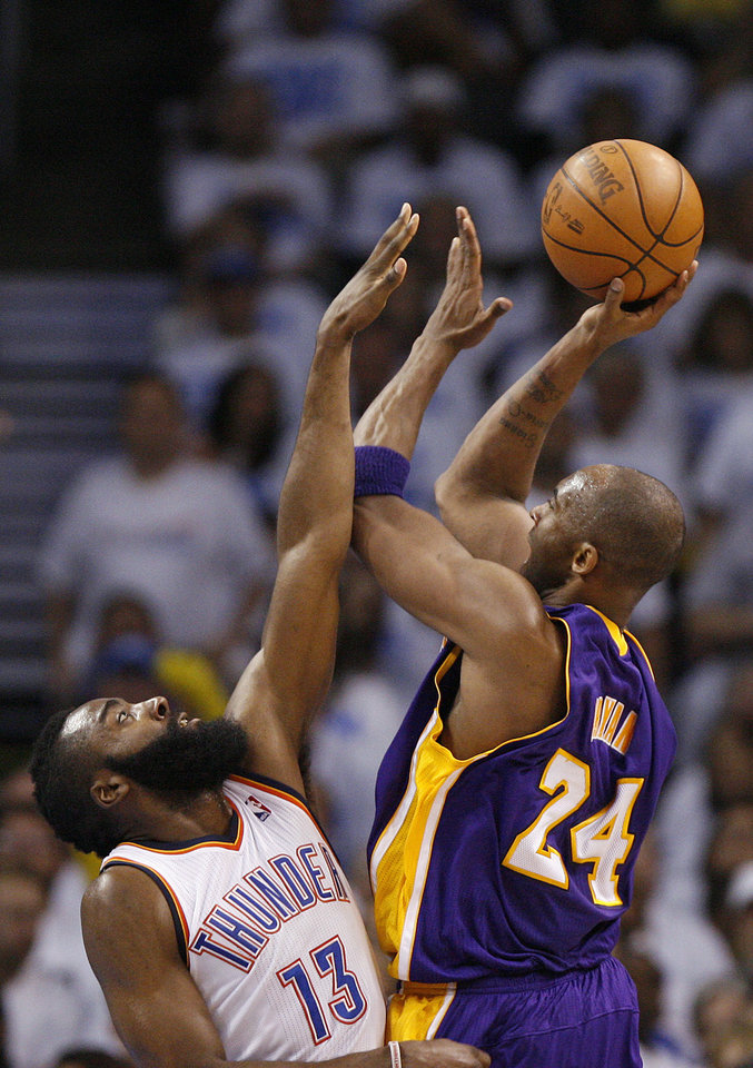 Los Angeles' Kobe Bryant shoots the ball over Oklahoma City's James Harden during Game 2 in the second round of the NBA playoffs between the Oklahoma City Thunder and L.A. Lakers at Chesapeake Energy Arena in Oklahoma City, Wednesday, May 16, 2012. Photo by Bryan Terry, The Oklahoman