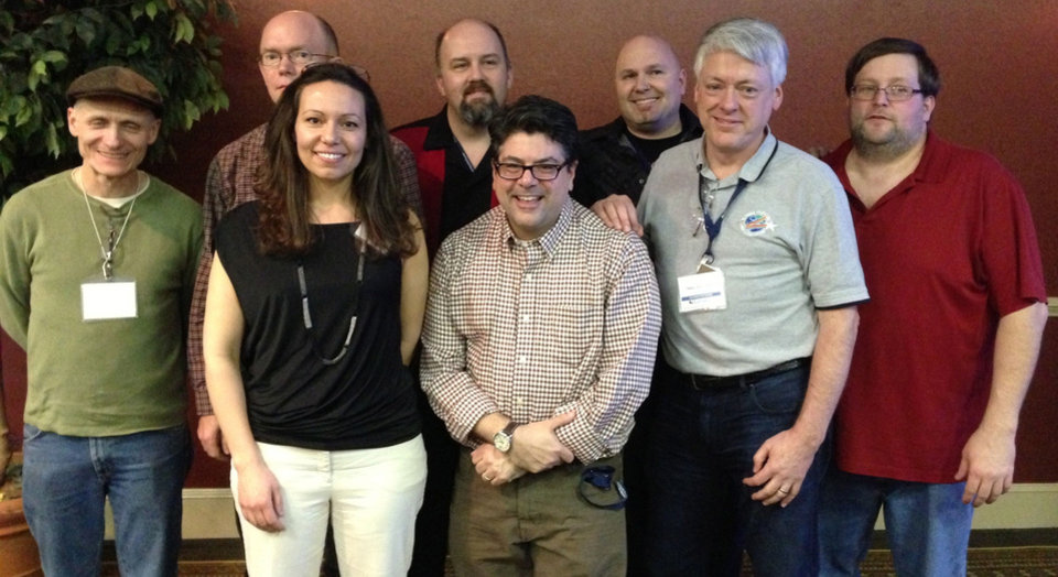 The board of directors of ComicsPRO, from left: Ralph Mathieu, Eric Kirsammer, Amanda Emmert, Calum Johnston, Carr D'Angelo, Thomas Gaul, Joe Field and Gary Dills Jr.   Photo provided. <strong></strong>