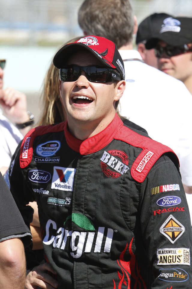 Ricky Stenhouse watches other drivers during qualifying for the NASCAR Nationwide Series auto race, Saturday, Nov. 17, 2012 at the Homestead-Miami Speedway in Homestead, Fla. (AP Photo/David Graham)