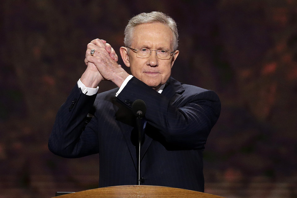 Photo - Senate Majority Leader Harry Reid of Nevada addresses the Democratic National Convention in Charlotte, N.C., on Tuesday, Sept. 4, 2012. (AP Photo/J. Scott Applewhite)  ORG XMIT: DNC135