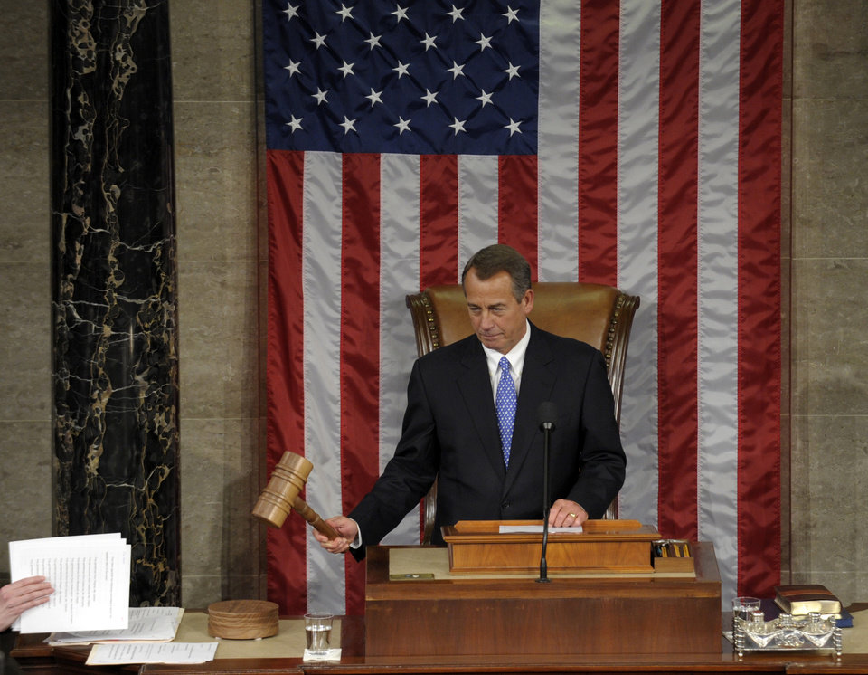 House Speaker John Boehner of Ohio bangs the gavel after being re-elected as House Speaker of the 113th Congress, Thursday, Jan. 3, 2013, on Capitol Hill in Washington. (AP Photo/Susan Walsh)