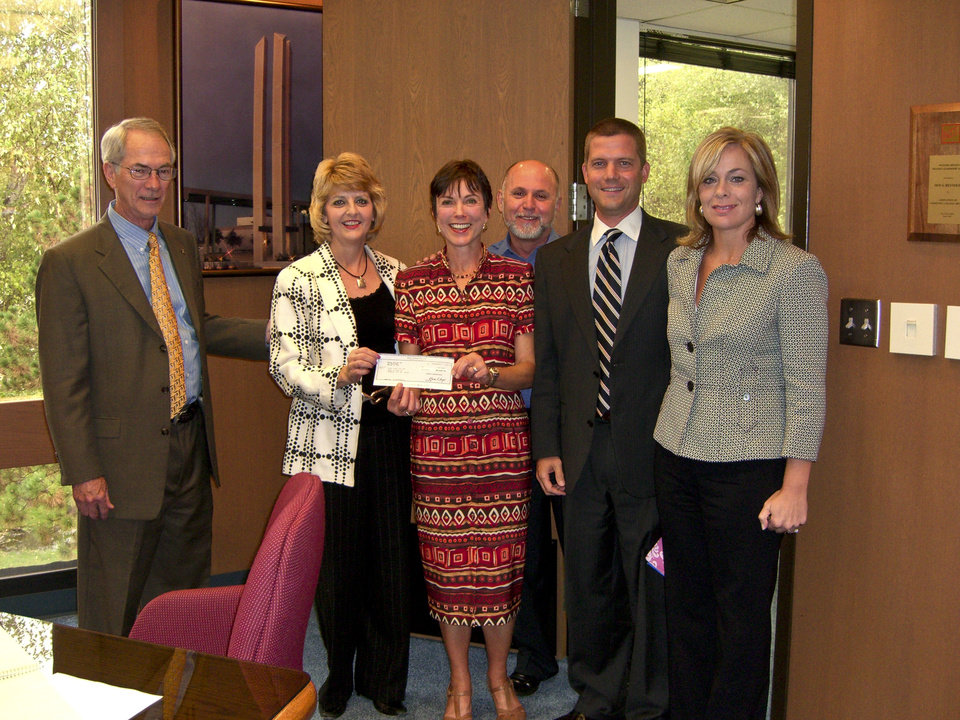 Rose State College adopt a School Coordinator Dr. Joanne Stafford accepts a check from Xerox Corporation. Pictured from left to right are, Dr. Terry Britton, Dr. Jeanie Webb, Dr. Stafford, Xerox Production Systems Analyst Randy Stafford and Xerox Account Executives Adam Pettit and Paula Keith.<br/><b>Community Photo By:</b> Steve Reeves<br/><b>Submitted By:</b> Donna, Choctaw
