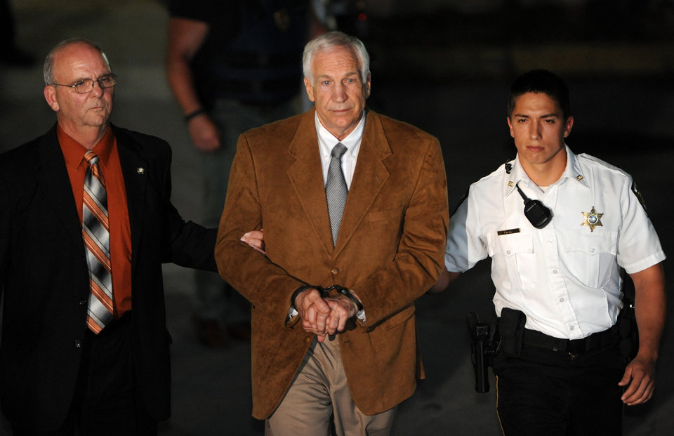 Jerry Sandusky leaves the Centre County Courthouse Friday, June 22, 2012, after being found guilty in his sexual abuse trial, in Bellefonte, Pa. Sandusky was convicted of sexually assaulting 10 boys over 15 years Friday, accusations that had sent shock waves through the college campus known as Happy Valley and led to the firing of Penn State\'s beloved Hall of Fame coach, Joe Paterno. (AP Photo/Centre Daily Times, Nabil K. Mark)