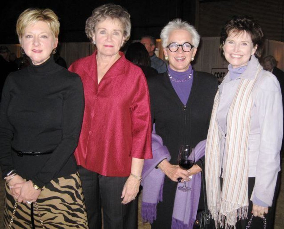 LEE ALLAN SMITH DAY....Jane Thompson, Nadine McPherson, Lolly  Anderson and Jane Jayroe Gamble celebrate at Lee Allan Smith's party.  (Photo by Helen Ford Wallace).