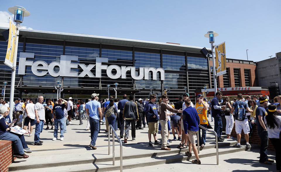 An exterior view of the arena before Game 3 in the second round of the NBA basketball playoffs between the Oklahoma City Thunder and Memphis Grizzles at the FedExForum in Memphis, Tenn., Saturday, May 11, 2013. Photo by Nate Billings, The Oklahoman