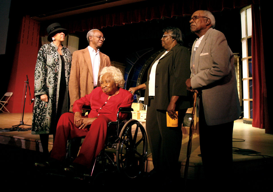 Photo - Ayanna Najuma, Calvin Luper, Clara Luper, Betty Germany and Portwood Williams react to the Respect Diversity Humanitarian award in honor of the 15th anniversary commemoration of the sit-in movement at the Science Museum Oklahoma , Tuesday, March 31, 2008, in Oklahoma City. Photo by Sarah Phipps, The Oklahoman ORG XMIT: KOD