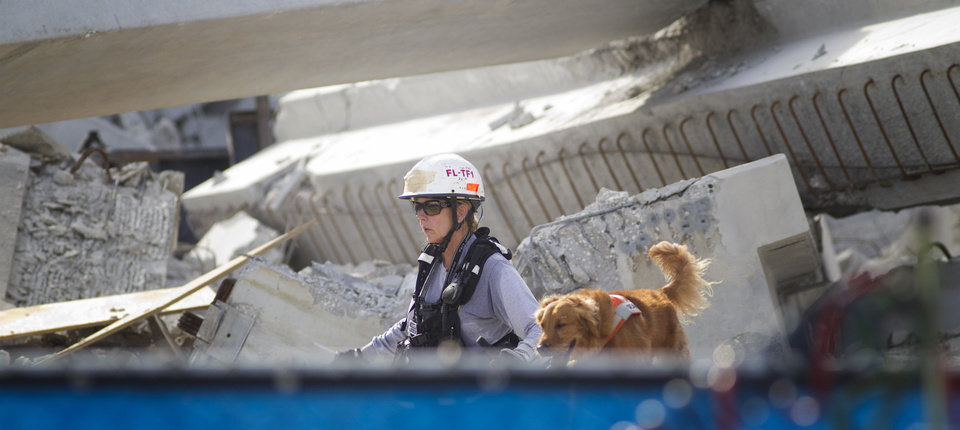 Photo -   A Fire Rescue team member and her dog search for victims trapped in the collapsed parking garage at the Miami Dade College West campus in Doral, Fla. Tuesday, Oct. 10, 2012. One worker was killed and two others were trapped in the rubble. (AP Photo/J Pat Carter)