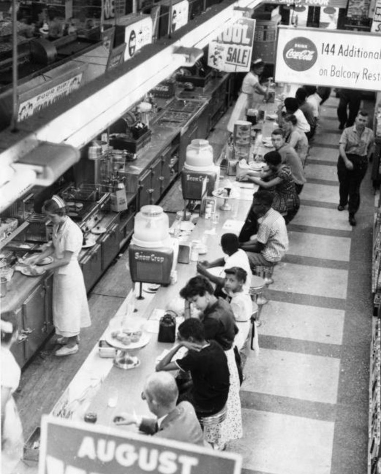 Photo -  Young people participate in sit-ins at Katz Drug Store in this photo from the late 1950s. Decades later, some of the participants in that era of the civil rights movement are offering guidance to protesters today. [The Oklahoman Archives]