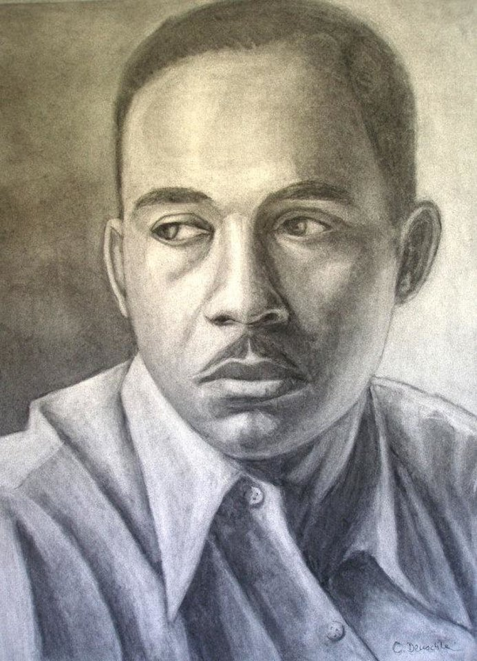 Photo - A colorized portrait of Ralph Ellison by Cathy Deuschle.  PROVIDED