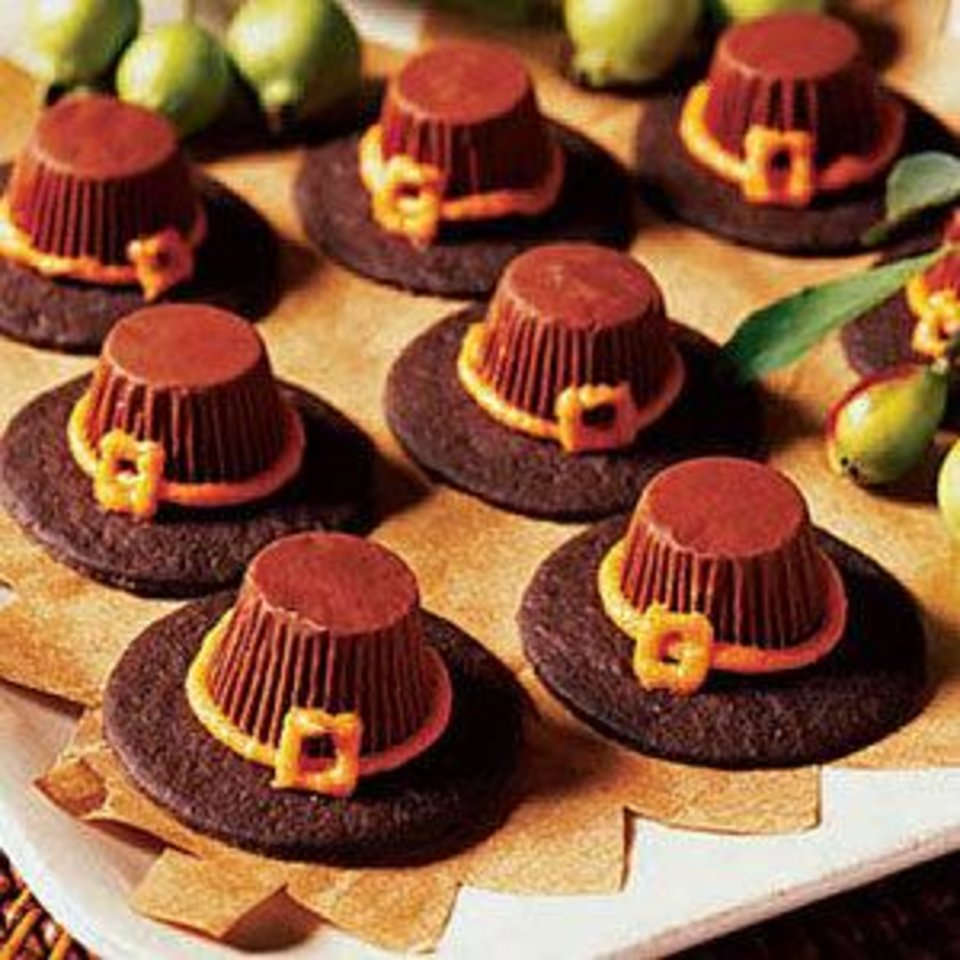 Photo - These pilgrim's hat cookies are fun and easy to assemble. Photo and recipe from Woman's Day magazine (womansday.com).