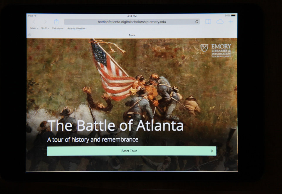 Photo - The Battle of Atlanta mobile app's start page from an iPad is seen Thursday, July 17, 2014, in Atlanta. Emory University's Center for Digital Scholarship released a web-based, GPS enhanced app for mobile devices to honor the 150th anniversary of the historic Battle of Atlanta. The app is a tour of the 12 most significant battle events that began July 22, 1864. (AP Photo)