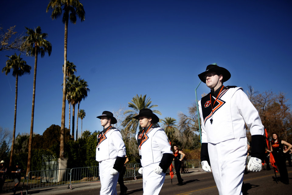 The Oklahoma State band marches in during the Fiesta Bowl parade in Phoenix, Ariz., Saturday, Dec. 31, 2011. Photo by Sarah Phipps, The Oklahoman