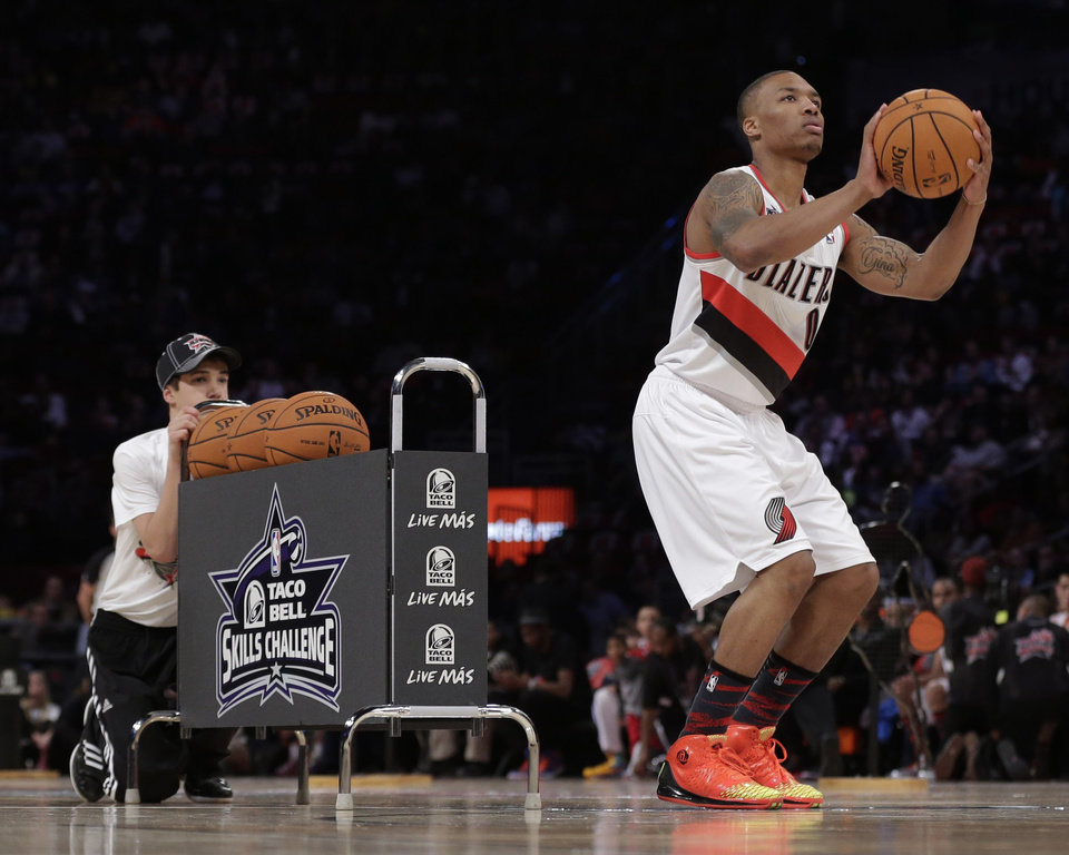 Damian Lillard of the Portland Trail Blazers participates in the skills challenge during NBA basketball All-Star Saturday Night, Feb. 16, 2013, in Houston. (AP Photo/Eric Gay)