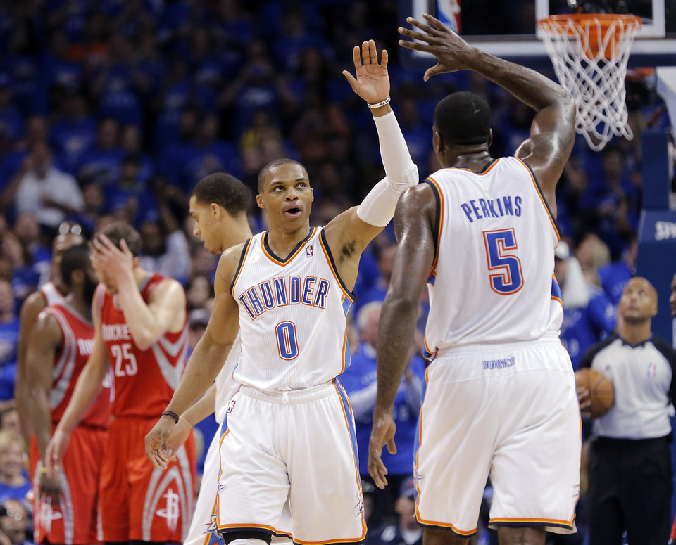 Oklahoma City\'s Russell Westbrook (0) and Kendrick Perkins (5) react after a foul called on Houston during Game 2 in the first round of the NBA playoffs between the Oklahoma City Thunder and the Houston Rockets at Chesapeake Energy Arena in Oklahoma City, Wednesday, April 24, 2013. Photo by Chris Landsberger, The Oklahoman