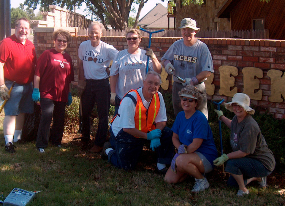 A few members of the Briarcreek clean-up crew pause for a photo op Saturday morning. Standing from left: John and Marilyn Smalley, Jon Heavener, Debbie Wanzer and Don Graves; seated Dan Orza, Patty Hurley and Cheryl Graves.<br/><b>Community Photo By:</b> Carolyn Leonard<br/><b>Submitted By:</b> Carolyn,
