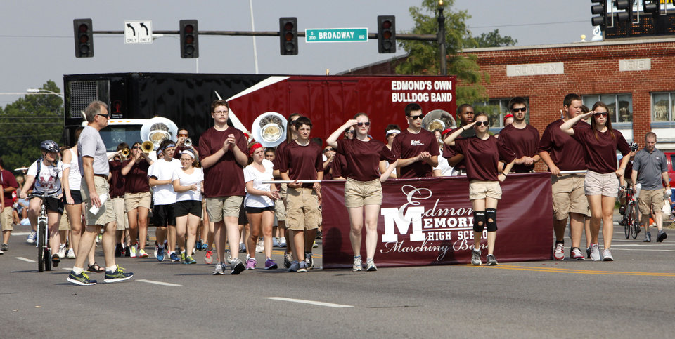 The Edmond Memorial Band marches in the annual LibertyFest Fourth of July Parade in downtown Edmond, OK, Thursday, July 4, 2013, Photo by Paul Hellstern, The Oklahoman