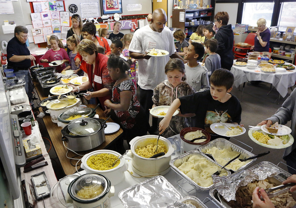 The fourth grade classes at Soldier Creek Elementary School in Midwest City enjoyed a traditional Thanksgiving meal when parents and staff pooled their cooking efforts to host a buffet in a classroom on Tuesday, Nov. 20, 2012. Photo by Jim Beckel, The Oklahoman