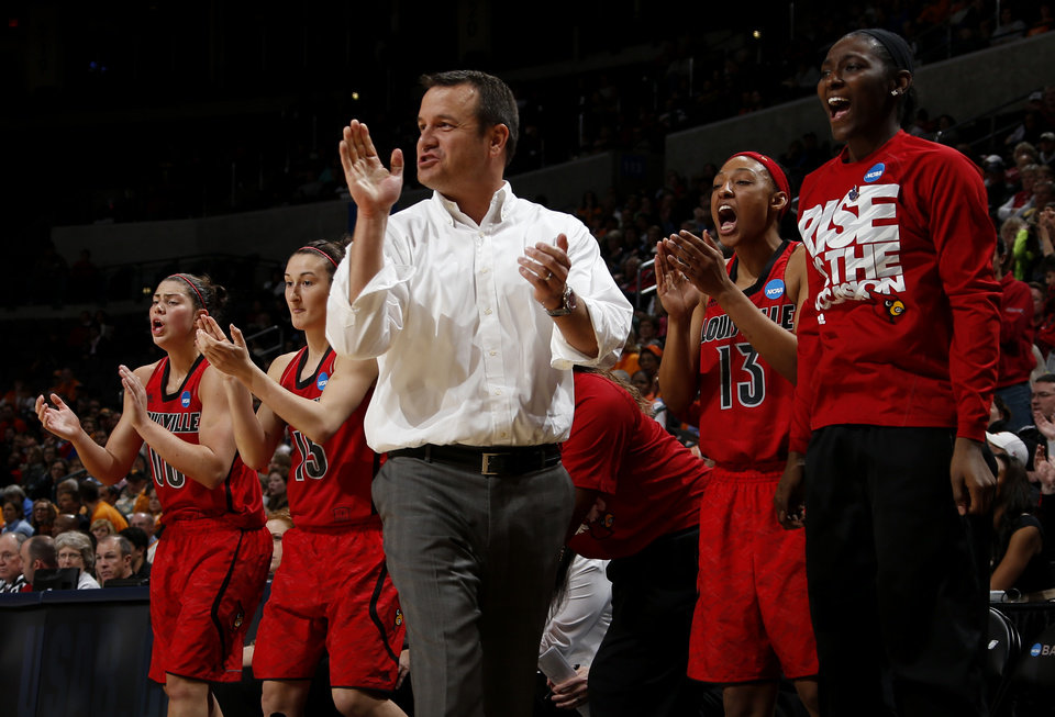 Louisville coach Jeff Walz reacts during the Oklahoma City Regional for the NCAA women's college basketball tournament  between the University of Tennessee and Louisville at Chesapeake Energy Arena in Oklahoma City, Tuesday, April 2, 2013. Photo by Bryan Terry, The Oklahoman