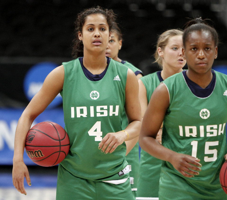 Photo - Notre Dame's Skylar Diggins waits in line during practice in Kansas City, Mo., on Saturday, March 27, 2010. The University of Oklahoma will play Notre Dame in the Sweet 16 round of the NCAA women's  basketball tournament on Sunday.Photo by Bryan Terry, The Oklahoman