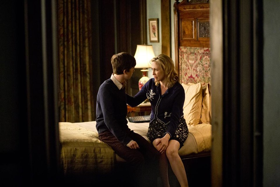 """Bates Motel"" Episode 104. Norman Bates and Norma Bates. Photo by Joseph Lederer Copyright 2011"