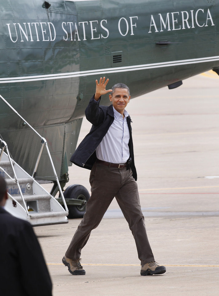 President Barack Obama steps off Marine One  at Tinker Air Force Base in Oklahoma City, Thursday,  March 22, 2012.  Photo By David McDaniel/The Oklahoman