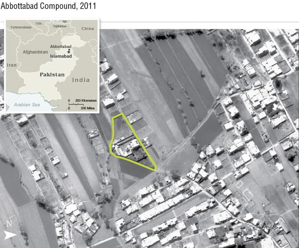 Photo - This undated aerial handout image provided by the CIA shows the Abbottabad compound in Pakistan where American forces in Pakistan killed Osama bin Laden, the mastermind behind the Sept. 11, 2001 terrorist attacks. (AP Photo/CIA)