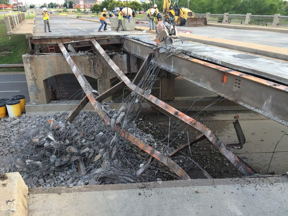 Bridge Deck Demolition : Oklahoma city s may avenue bridge could be repaired